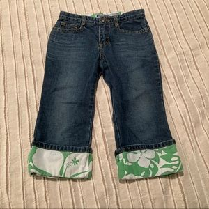 Old navy Sz 7 crop jeans with accent fabric EEUC